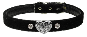Clear Puffy Heart One Charm Dog Collar Black Velvet Size 10
